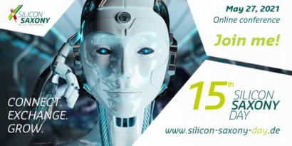 Einladungsbanner zum Fachvortrag Virtuelles Kraftwerk auf dem Silicon Saxony 2021 am 27.05.2021